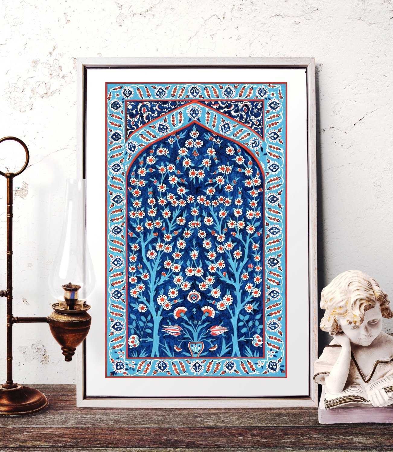 Turkish Tile Tree Of Life Watercolor Painting Traditional