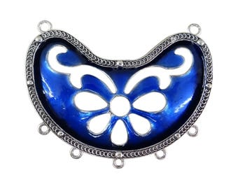Bib connector in antique silver half moon lacquered blue co080
