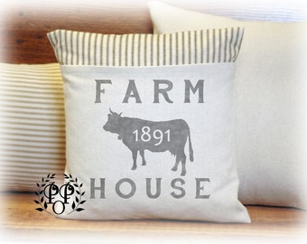Dairy,Farm, Farmhouse, Pillow Cover, Country, Ticking