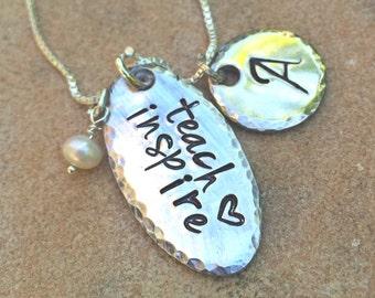 Teach Love Inspire Necklace, Teacher Gift, Personalized Teacher Gift, Personalized Gifts for Teachers, natashaaloha