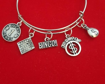 Silver Bingo Themed Charm Bracelet
