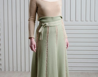 Green maxi skirt High waisted skirt with a belt Wool A-line skirt Long skirt Party skirt Flared skirt Floor length skirt Knit skirt