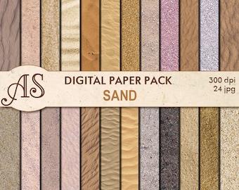 Digital Sand Paper Pack, 24 printable Digital Scrapbooking papers, fotorealistic Digital Collage, seaside clip art, Instant Download, set194