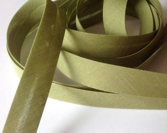 Green olive folded 100% cotton bias