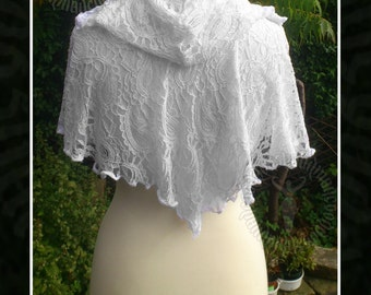 Hooded Lace Capelet,Shawl, Victorian, Steampunk, Gothic, Elven, Faerie