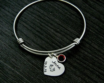 New Mom Hand Stamped Wire Bangle Bracelet
