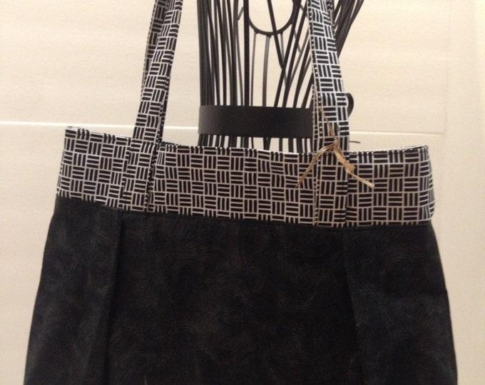 Black and White Sweet Pea Purse, Shoulder Bag, Fabric Handbag, Black Purse, Comfortable Shoulder Bag, #4003
