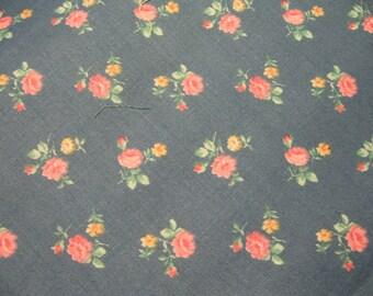 Fabric, Peter pan fabrics, Flowers on Blue, yardage, sewing, supplies, quilt, pillows (Peter Pan)