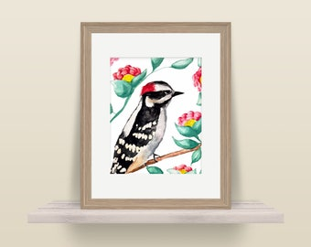 Downy Woodpecker - 8x10 Print of Original Watercolor Painting Colorful - Bird Painting