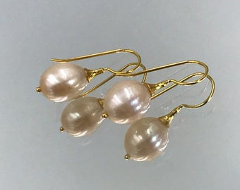 Pearl Earrings Gold Pearl Drop Earrings Blush Pearl Wedding Earrings Blush Pearl Pink Pearl Drop Simple Pearl Earrings
