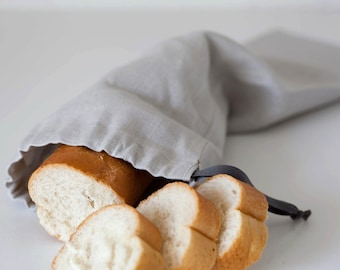 Grey linen bread bag for baguette - reusable keeper - grey linen bag - food storage - bag for dried products 7x20 inch size