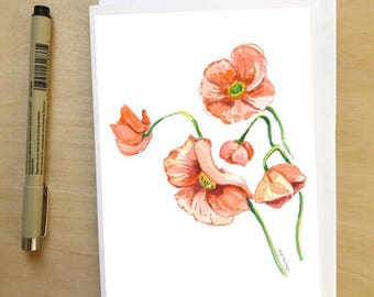 Poppies, 5x7 card, Ready to Ship