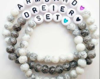 Bracelet set of 3 with heart