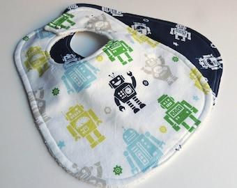 Robot Baby Bibs - Baby Bibs - Robot Bibs - Navy Blue Baby Bibs - Robot Baby Bib - Terry Cloth Bibs -Rocket Bibs - Robot Bib - Boy Baby