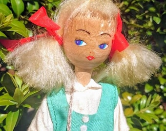 Vintage doll | Polish wooden doll Lucy | collectible doll 1970s  from Poland | Polish character  wooden doll UK