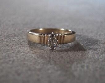 Vintage Sterling Silver 3 Round Diamond Wedding Engagement Band Ring, Size 7        **RL