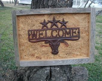 Rustic Welcome / Framed Barn Wood  Longhorn / Rustic Welcome Decor / Texas Decor / Western Decoration / Rustic Stars / Rustic Longhorn