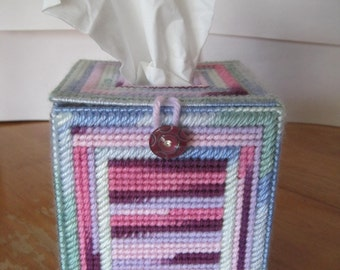 Variegated Pink-Purple Blue-Green Whimsical Plastic Canvas Tissue Box Cover