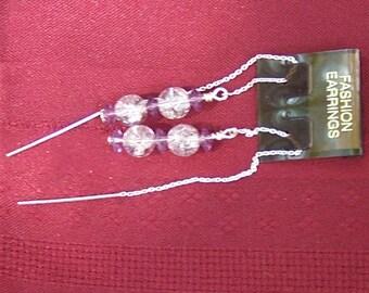 Ear Threads, Earrings - Handcrafted Lavender & Sterling by JewelryArtistry - E46