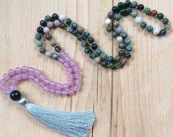 The EMOTIONAL SUPPORT Mala Beads Necklace // Handknotted 108 Mala Beads // Yoga Mala // fancy jasper, violet jade