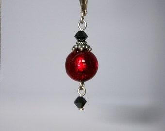 Red Venetian glass earrings