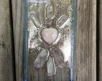 iPhone 7 plus Crystal Phone Case - with Rose Quartz Heart