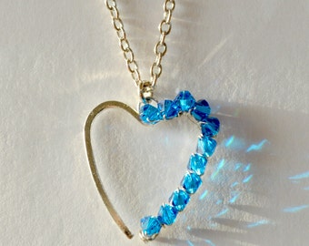 Romantic Heart Pendant Necklace, Crystal Heart Pendant, Heart Necklace,