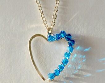 Romantic Heart Pendant Necklace, Crystal Heart Pendant, Heart Necklace,