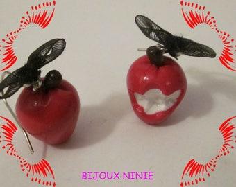 Red Apple bitten polymer clay earrings