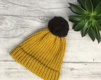 Mustard knitted beanie hat, mothers day gift, ski hat, skiing hat, unisex hand knitted hat, hats for women, mustard yellow etsy uk etsyuk