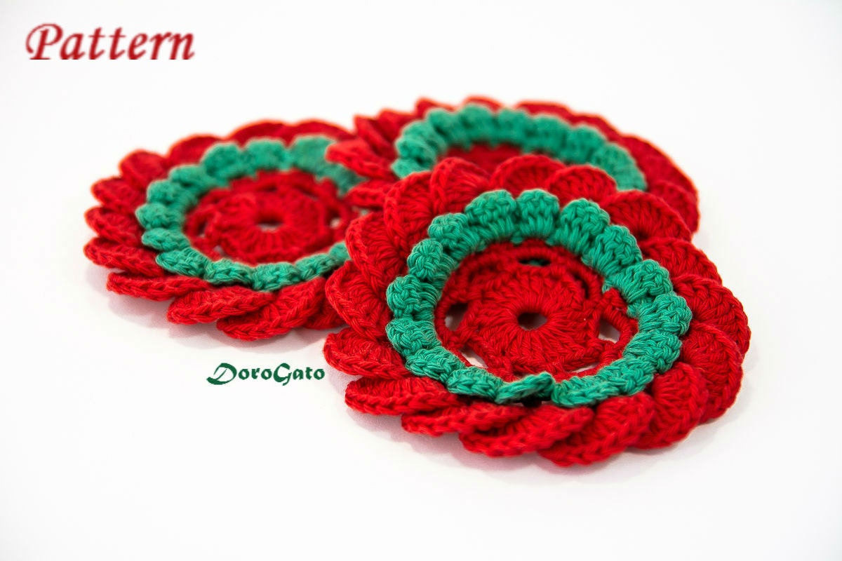 Crochet Coasters Pattern, Flower Pattern, Tutorial Pattern, Easy ...