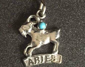 Aries Zodiac Charm, Sterling Silver Astrology Charm, Aries Ram Charm, Horoscope Charm for Charm Bracelets