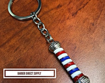 Barber pole silver keychain barbershop accessories
