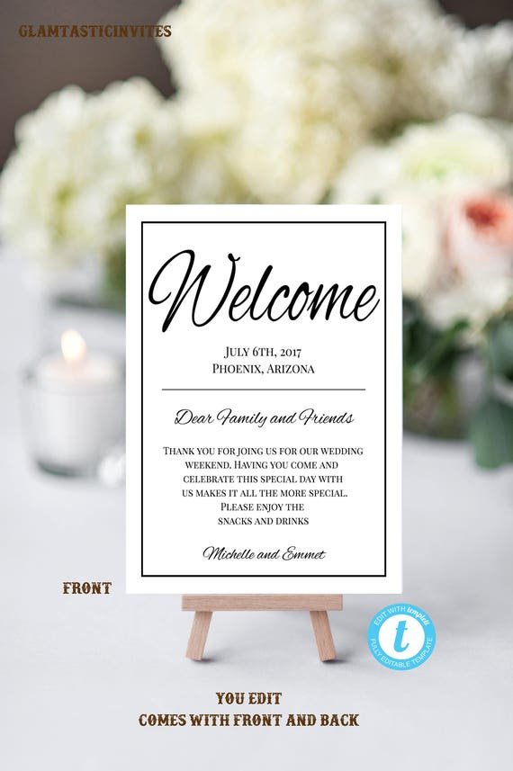 wedding welcome note template welcome note wedding template