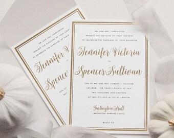 Letterpress Foil Wedding Invitation Suite (SAMPLE) - Sullivan Design