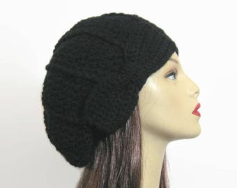 Black Slouch Beanie Black Crochet Hat with Bow crochet women's hat Black Slouch Hat Black Slouch Tam Beret with Bow Black Crochet Cap