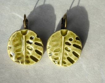Khaki ceramic leaf earrings