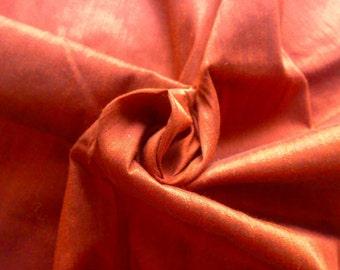 Metallic Copper Brown Dupioni Art Silk Fabric By The Yard, Brown Dupion Silk, Copper Art Silk Fabric, Indian Silk Fabric,Wholesale Fabric