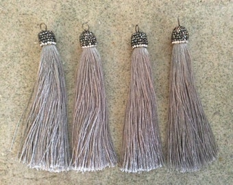 silver gray silky pave gunmetal cap crystal tassel jewelry making wholesale bohemian supplies wholesale