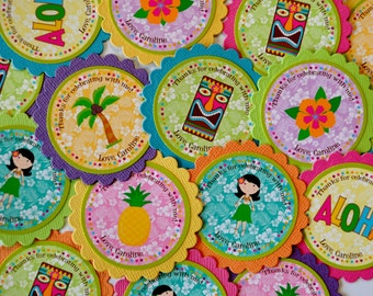 Tropical Luau Favor Tags or Stickers in Bright, fun Colors for Baby showers and birthday parties