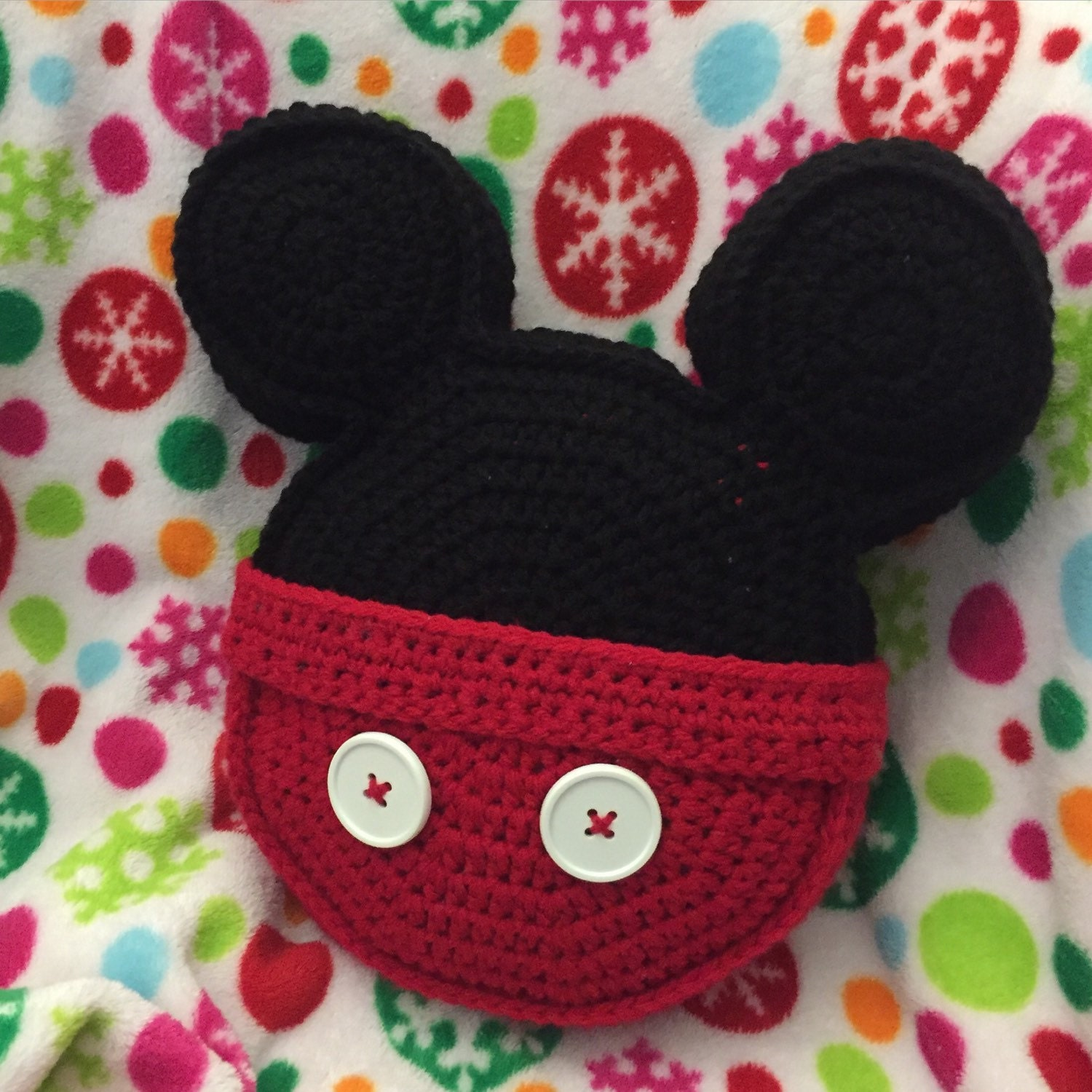 Made to order Crochet pillow Mickey Mouse inspired icon mouse