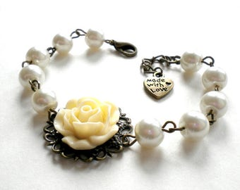 Will You Be My Bridesmaid Gift Ivory Pearl Bracelet Bachelorette Party Gift Maid Of Honor Bracelet Ivory Bridesmaid Bracelet Flower Bracelet