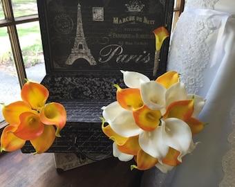 3 Piece Real Touch Orange White Calla Lily Wedding Bouquet Flower Set, Orange White Bouquet Orange Calla Lily Bouquet Rustic Wedding