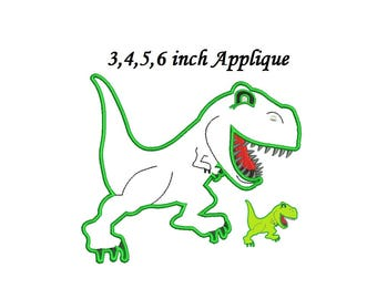 T-rex Dinosaur Applique Embroidery Design,Dinosaur embroidery Dinosaur Applique - 4 sizes instant download