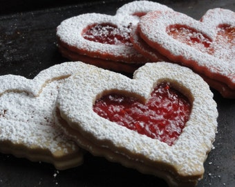 heart shaped  butter cookies, Valentine cookies, hungarian linzer cookies,large sandwich cookies, tea cookies
