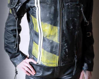Ladies Apocalypse Jacket Real Leather - Black/yellow/ White - mad max, road warrior, burning man, cosplay, please read description for sizes