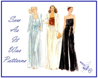 "1970s Vogue 7140 Strapless Blouson Flared Evening Dress Pantdress Palazzo Pants Clutch Jacket Vintage Sewing Pattern Size 8 Bust 31.5"" 80cm"