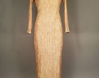 1980's Mary McFadden Couture Gown, Golden Crepe Mary McFadden Dress, Gold 1980's Evening Gown, Vintage Mary McFadden, 1980's Designer Gown