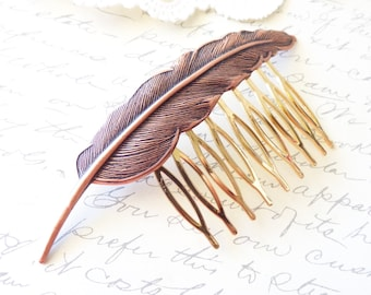 Copper Feather Hair Comb - Woodland Collection - Whimsical - Nature - Bridal - Wedding Hair
