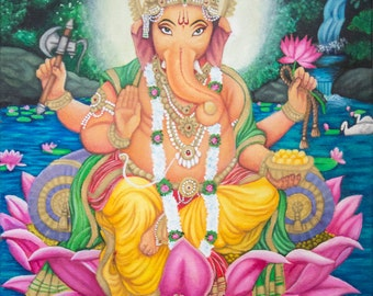 Ganesh Hindu God Lotus Colourful Large Original Acrylic Painting on Gallery Wrapped Canvas Art by Breanna Deis